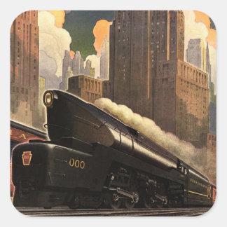 Poster del ferrocarril de Pennsylvania Calcomanía Cuadradas Personalizadas