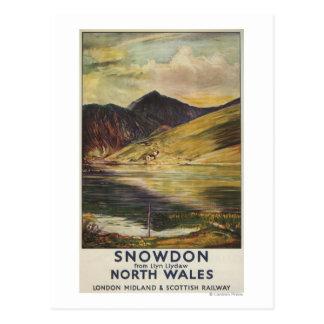 Poster del ferrocarril del Mountain View de Snowdo Postal