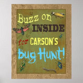 Poster del fiesta de la caza del insecto