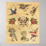 Poster del flash del tatuaje del vintage