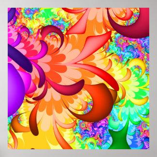 Poster del fractal del chapoteo del color póster