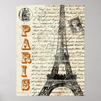 Poster del francés del vintage de la torre Eiffel