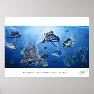 Poster del frenesí del pez volador póster