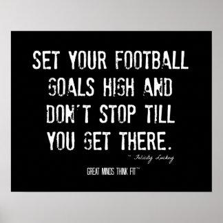 Poster del fútbol con alta cita de las metas
