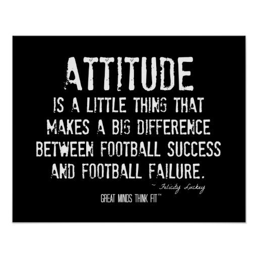 Poster del fútbol con cita de la actitud