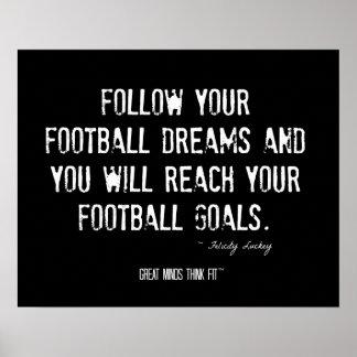 Poster del fútbol con cita de las metas y de los s
