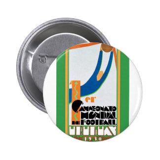 Poster del fútbol de 1930 mundiales pin redondo de 2 pulgadas