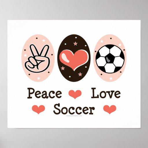Poster del fútbol del amor de la paz