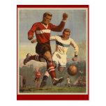 Poster del fútbol del fútbol del vintage postales