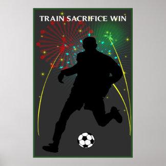 Poster del fútbol del triunfo del sacrificio del t