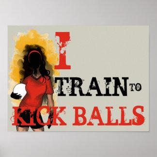 Poster del fútbol - entreno para golpear bolas con