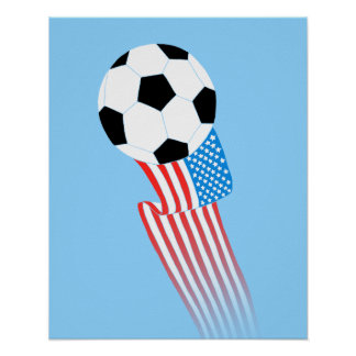 Poster del fútbol: Los E.E.U.U. azules
