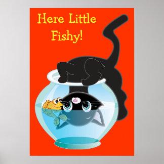 Poster del gatito, de los pescados y del cuenco
