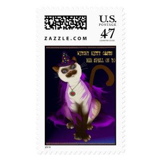 Poster del gatito de Witchy Timbres Postales