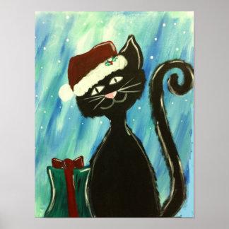 Poster del gatito del navidad