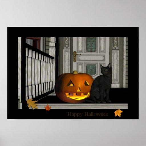 Poster del gatito del pórtico del feliz Halloween