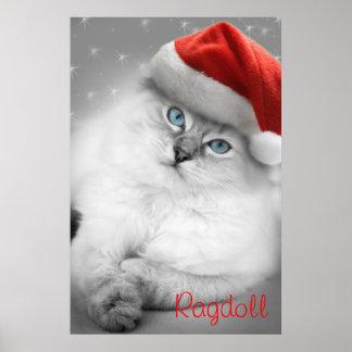 poster del gatito del ragdoll del navidad