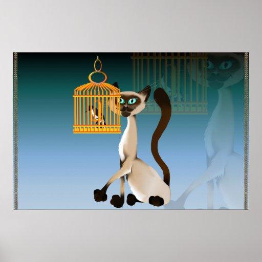 Poster del gatito y del pájaro