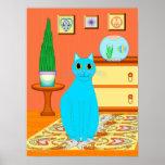 Poster del gato de la turquesa