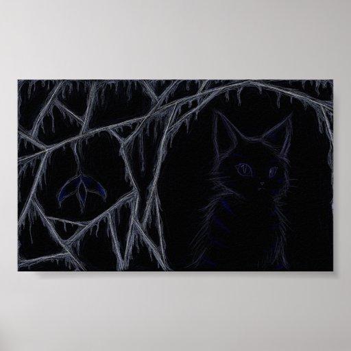 Poster del gato de las telarañas del goteo
