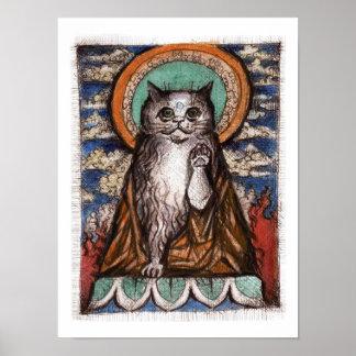 Poster del gato de Maneki Neko - gato de Buda