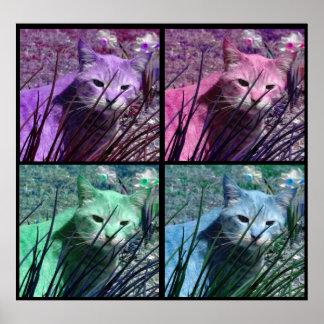 Poster del gato de tigre del arte pop