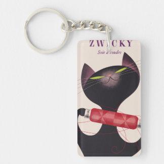 Poster del gato de Zwicky de Donald Brun Llavero Rectangular Acrílico A Doble Cara