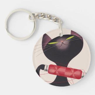 Poster del gato de Zwicky de Donald Brun Llavero Redondo Acrílico A Doble Cara