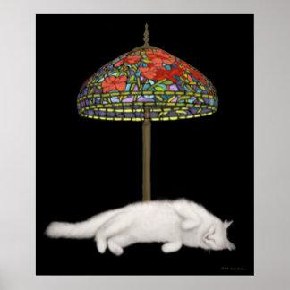 Poster del gato del bronceado de la lámpara de póster