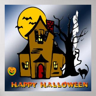 Poster del gato del fantasma de la casa encantada