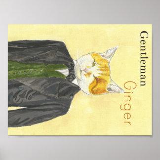 Poster del gato del jengibre del caballero