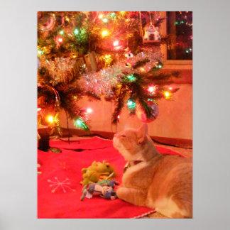 Poster del gato del navidad