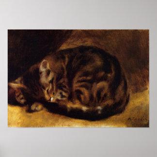 Poster del gato el dormir de Renoir