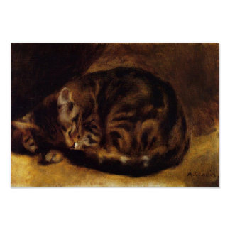 Poster del gato el dormir de Renoir Póster