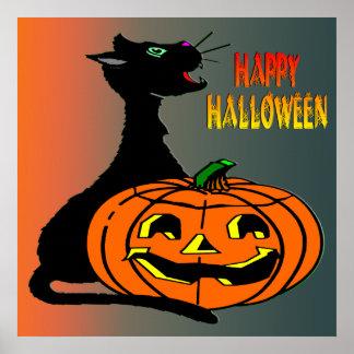 Poster del gato negro y de la Jack-O-Linterna