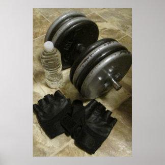 Poster del gimnasio del levantamiento de pesas y d