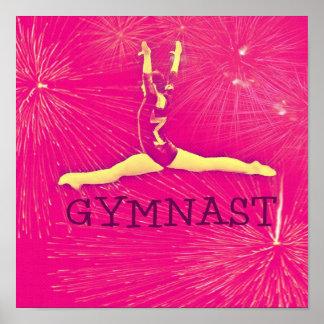 Poster del gimnasta - fractura-salto rosado de los