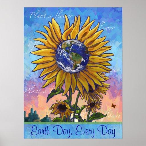 Poster del girasol del Día de la Tierra