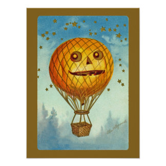 Poster del globo del aire caliente de Halloween JO