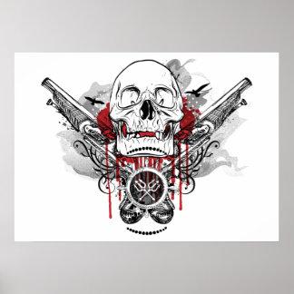 Poster del gráfico de las pistolas del cráneo y