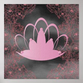Poster del gris del rosa de la tiara de Filegree d