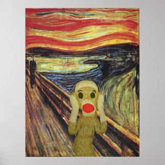 Poster del grito del mono del calcetín