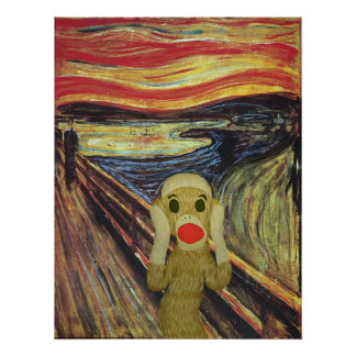 Poster del grito del mono del calcetín póster