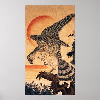 Poster del halcón de Kuniyoshi