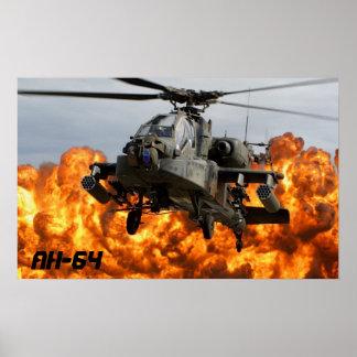 POSTER DEL HELICÓPTERO DE AH-64 APACHE PÓSTER