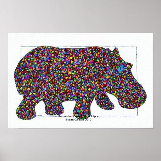 Poster del hipopótamo del vitral de Hernando