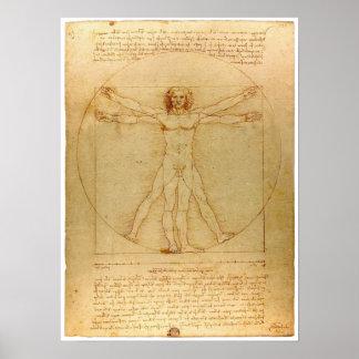 Poster del hombre de da Vinci Vitruvian