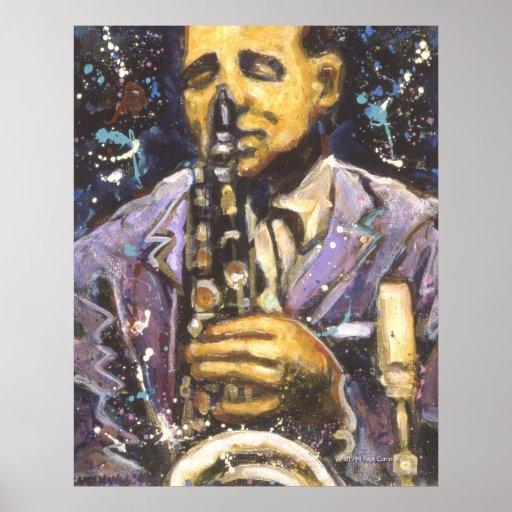 Poster del hombre del saxofón