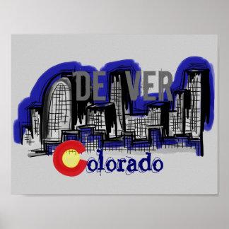 Poster del horizonte de Denver Colorado