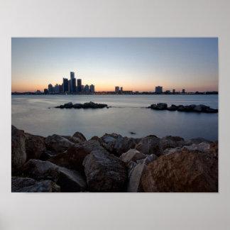 Poster del horizonte de Detroit, Michigan